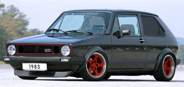 A customised black VW Golf GTi Mk 1