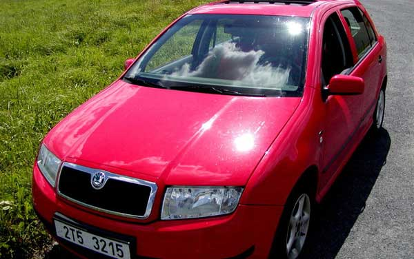 red mk 1 skoda fabia with sunroof