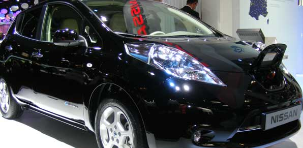 black Nissan Leaf manufactured in Sunderland