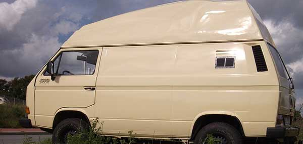 old beige high roof campervan