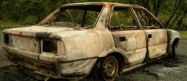 A burnt out Toyota